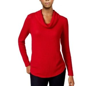 [105]Style & Co. Womens Waffle Knit Funnel Neck S